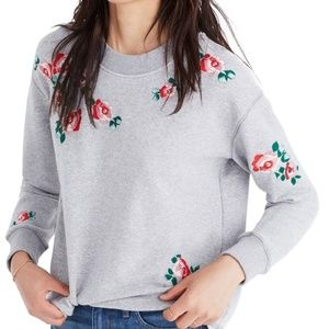 Madewell | Embroidered Crop Sweatshirt |  L